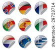 Isolated raster version of vector world flag labels (contain the Clipping Path of all objects) - stock