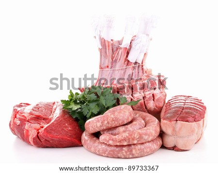 isolated raw meat - stock photo