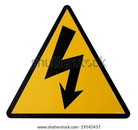 Isolated Real High Voltage Sign to use in your designs. - stock photo