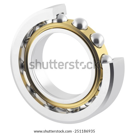 Isolated realistic bearing on a white background with light scratches. High resolution 3D - stock photo