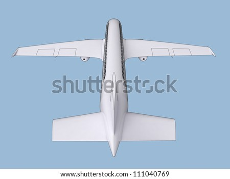 isolated realistic shaded airplane flight concept in back  side on blue background render illustration - stock photo