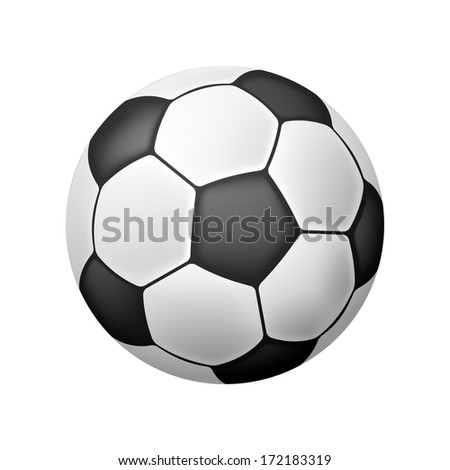 Isolated Realistic Soccer Ball over white - stock photo