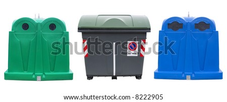 Isolated recycle bins for glass, plastic and waste - stock photo
