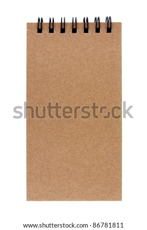 Isolated recycle paper note book on white background - stock photo