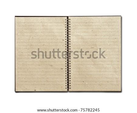 isolated recycled paper open notebook on white - stock photo