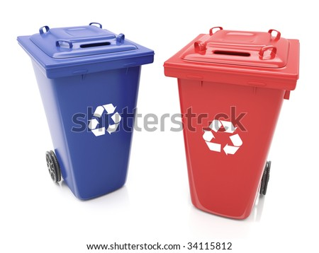 Isolated Recycling Containers - stock photo