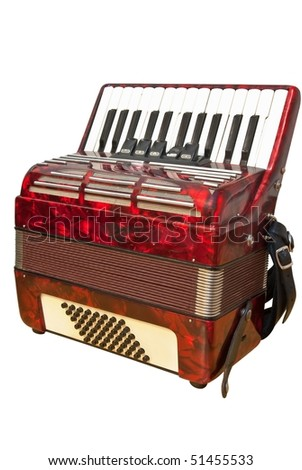 isolated red accordion with clipping path - stock photo
