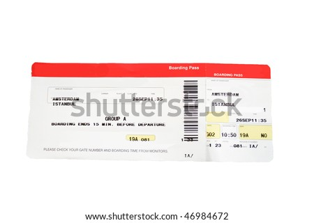 Isolated red and white boarding pass. Names and airline removed. - stock photo