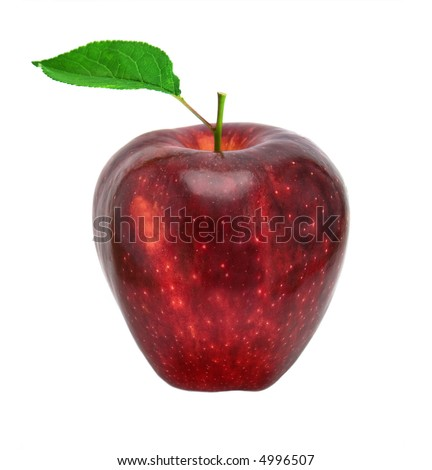 isolated red apple with green leaf - stock photo