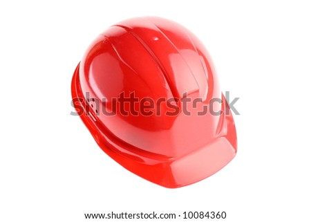 Isolated red builder's helmet - stock photo