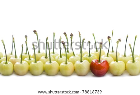 isolated red cherry among greens - stock photo