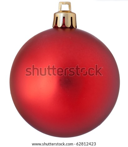 Isolated red christmas ball over white background - stock photo