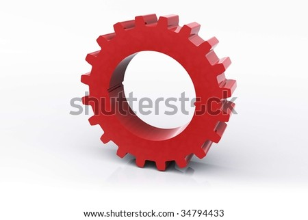 Isolated red Cog - stock photo