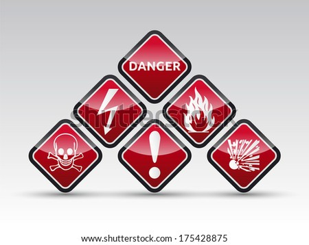 Isolated red Danger sign collection with black border, reflection and shadow on light background - stock photo