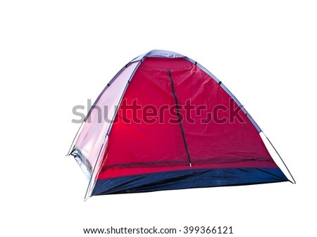 Isolated red dome tent on white with clipping path - stock photo