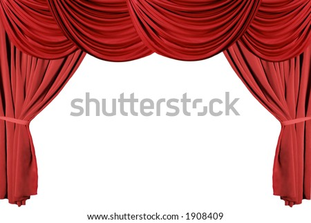 Isolated Red Draped Theater Curtains Series - stock photo