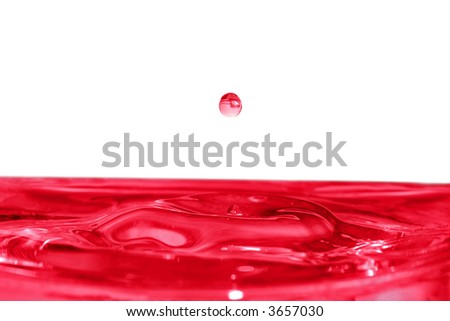 isolated red drop is falling down and impact with liquid surface - stock photo
