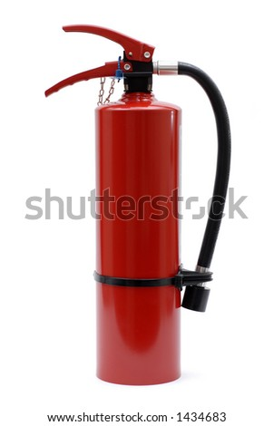 Isolated Red Fire Extinguisher with no Label - stock photo