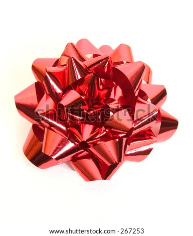 isolated red foil bow