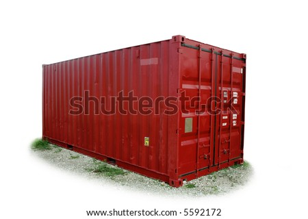 Isolated, red freight shipping container. [tare weigh kept. NAMES, SERIAL NUMBERS removed]. - stock photo
