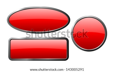 isolated red glass buttons with gloss and metal edge