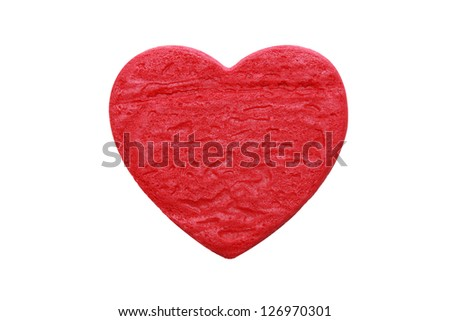 isolated red heart cookie in white background - stock photo
