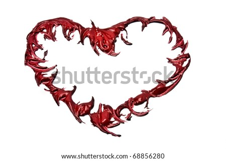 isolated red heart painted in gouache on a white background