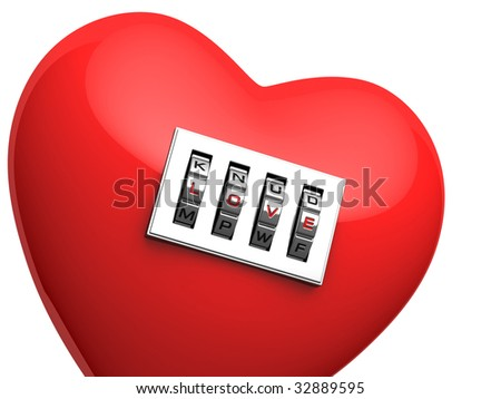 "isolated red heart with shiny metal code padlock with password ""love"""