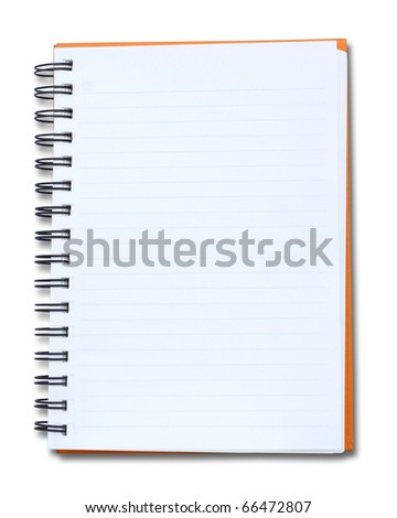 isolated red notebook on white background - stock photo