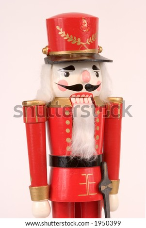 Isolated Red Nutcracker Statue