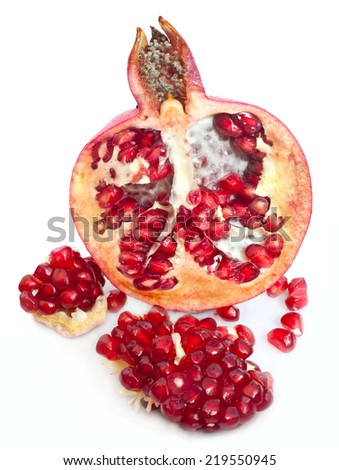 isolated red pomegranate fruit  - stock photo