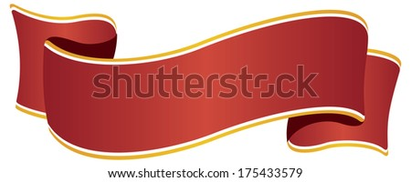 Isolated red ribbon with golden border on white background - stock photo