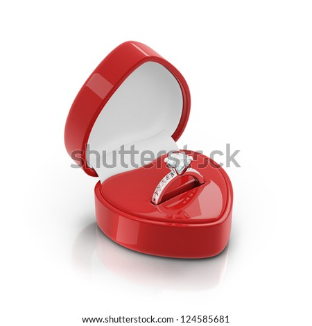 Isolated red ring box with silver ring on white background - stock photo