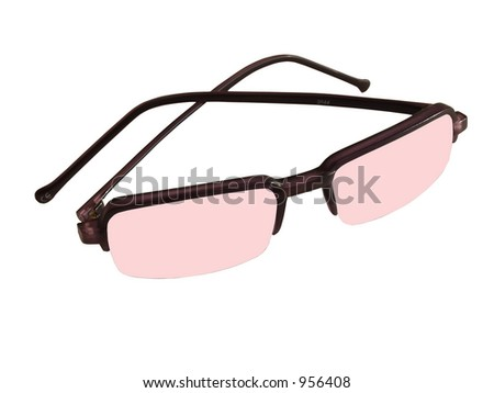Isolated red sunglasses - stock photo