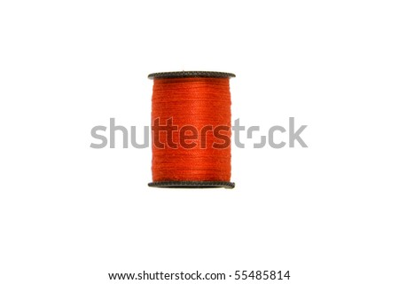 isolated red thread with a white background - stock photo