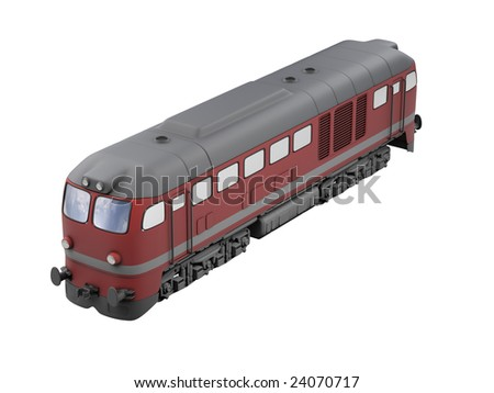 isolated red train over white background