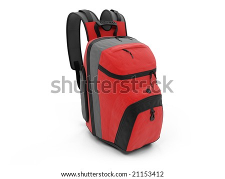 isolated red travel rucksack on a white background