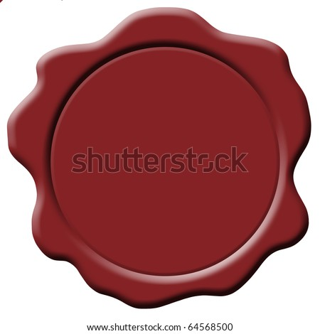 isolated red wax seal plain - stock photo