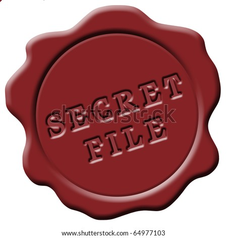 isolated red wax seal secret file