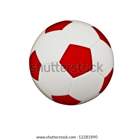 Isolated red & white classic soccerball