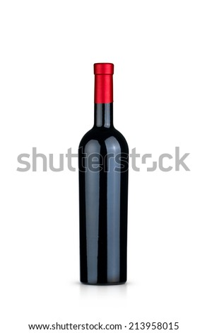 Isolated red wine bottle on white background.