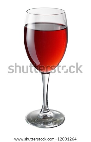 Isolated red wine glass on the white