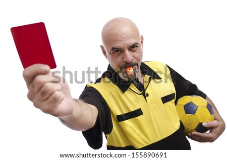 Isolated referee showing red card