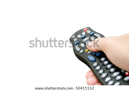 isolated remote control with copy space - stock photo