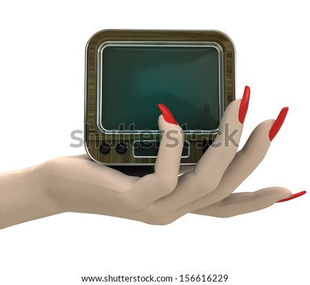 isolated retro television in women hand render illustration