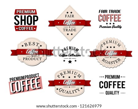 Isolated retro, vintage coffee badges and labels. - stock photo