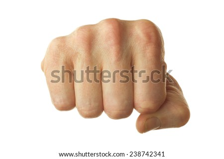 isolated right human fist on white background - stock photo