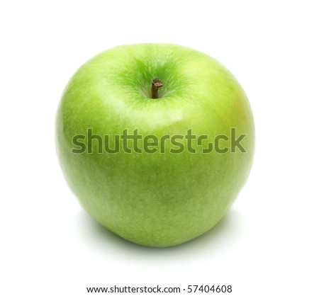 isolated ripe natural green apple - stock photo