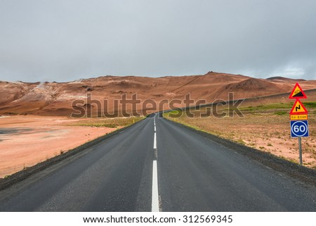 Isolated road and mountain landscape at Iceland, summer, 2015 - stock photo