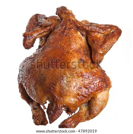 Isolated roasted  hen - stock photo